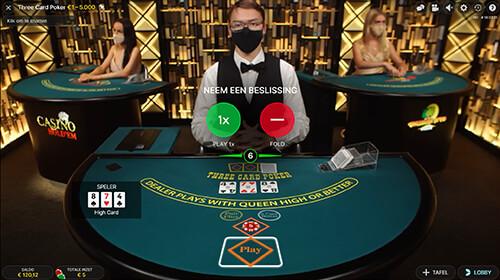 Three Card Poker spelen of niet